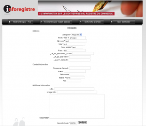 Inforegistre : interface d'administration